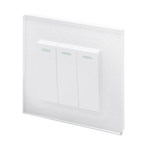 RetroTouch 3 Gang 1 Way 10A Pulse/Retractive Light Switch White Glass PG 00239